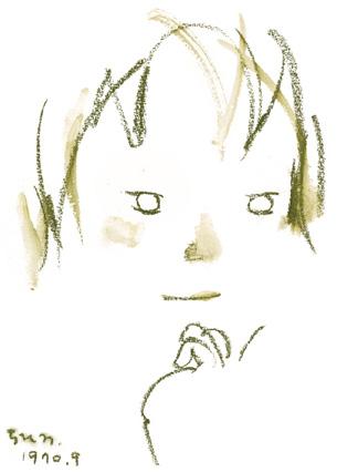 いわさきちひろ『あごに手をおく少女』 1970年