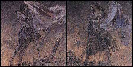 会田誠『美しい旗(戦争画RETURNS)』 1995 襖、蝶番、木炭、大和のりをメディウムにした自家製絵具、アクリル絵具(二曲一双屏風)各169×169cm 撮影:宮島径 ©AIDA Makoto Courtesy Mizuma Art Gallery