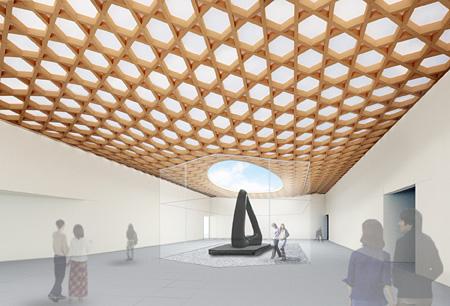 大分県立美術館パース図(3Fホワイエ・屋外展示スペース) ©Shigeru Ban Architects