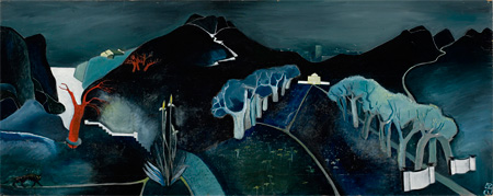 トーベ・ヤンソン《神秘的な風景》フィンランド国立アテネウム美術館 1930年代 油彩・合板 61×152.5cm © Tove Jansson Estate