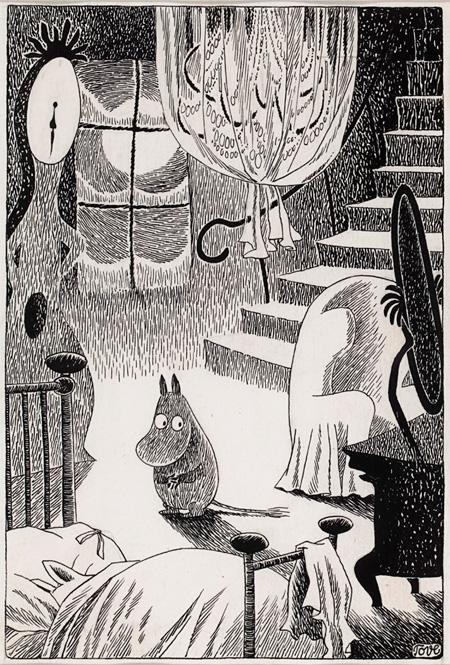 トーベ・ヤンソン《ムーミン谷の冬》挿絵 タンぺレ市立美術館 ムーミン谷博物館 1957年 インク・紙 19×13.3cm © Moomin Characters ™
