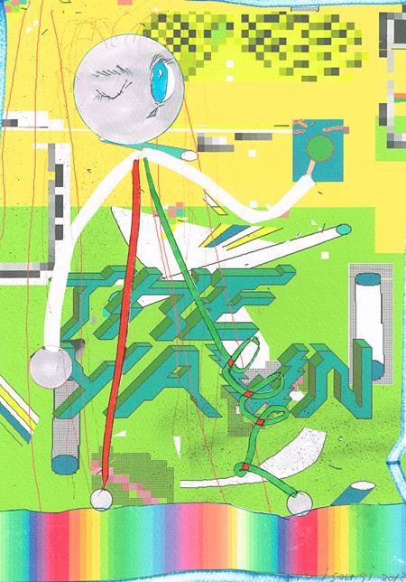 二艘木洋行『梨』2013 レーザープリント、ペン、スプレー、マーカー、紙 297 x 210 mm Courtesy of TALION GALLERY