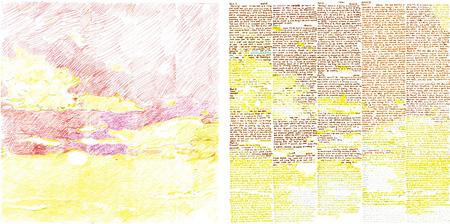 左:領域分割図(2014.11.14.東京 夕暮れ)、右:アリストテレス『形而上学』第五巻(部分)および『自然学』第三巻(部分)