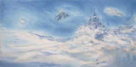 """『ファイナルファンタジーV デザイン原画 """"castle in the sky""""』1992 ©1992. Square.Co.,Ltd. ©Yoshitaka AMANO"""