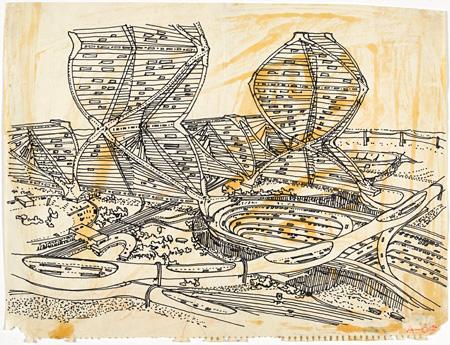 黒川紀章『ヘリックス・シティ』建築パース 1961 ポンピドゥー・センター、パリ国立近代美術館蔵 ©Georges Meguerditchian/Centre Pompidou,MNAM-CCI/Dist.RMN-GP ©Kisho Kurokawa architect & associates