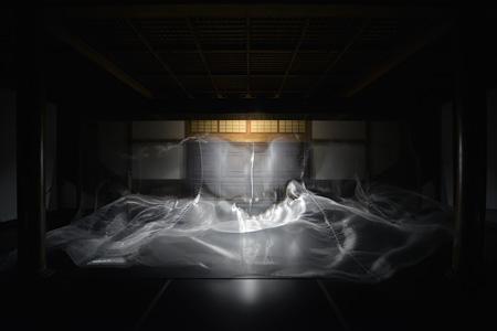 大巻伸嗣『Liminal Air Space-Time』2013年 布、ファン 展覧会:栗林公園・北庭完成100周年記念事業 会場:栗林公園 商工奨励館