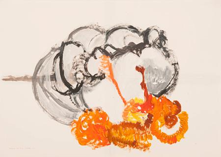 日比野克彦『モニチヌ(ミズノキ1)』2014年 ※松花苑でのショートステイ体験中に制作した作品