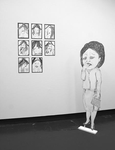 紙川千亜妃『My Private Grand Funeral:Mrs. Melancholy』2007年 Wetering Galerie(オランダ)での展示風景