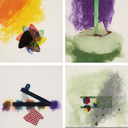 リチャード・タトル『Cloth: Label 1, 2, 5, 6』2002-2005, Inked snaplines on handmade paper, 40.6×40.6cm(sheet) each / a set of 16 pieces ©Richard Tuttle Courtesy of Tomio Koyama Gallery