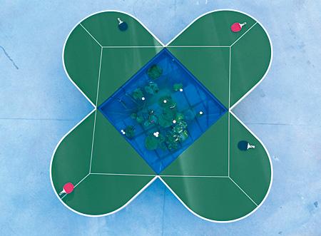 ガブリエル・オロスコ『ピン=ポンド・テーブル』1998年 変形卓球台、卓球ラケット、ボール、水槽、ポンプフィルター、蓮  H76.7×W424.5×D424.5cm 金沢21世紀美術館蔵
