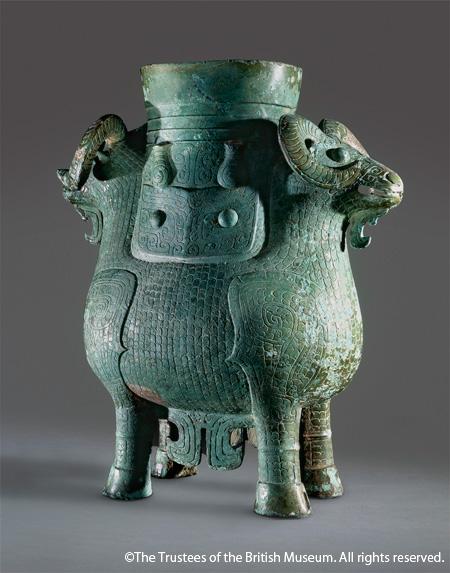 双羊尊 中国・おそらく湖南省 紀元前13~11世紀 英国・大英博物館蔵 ©The Trustees of the British Museum. All rights reserved.
