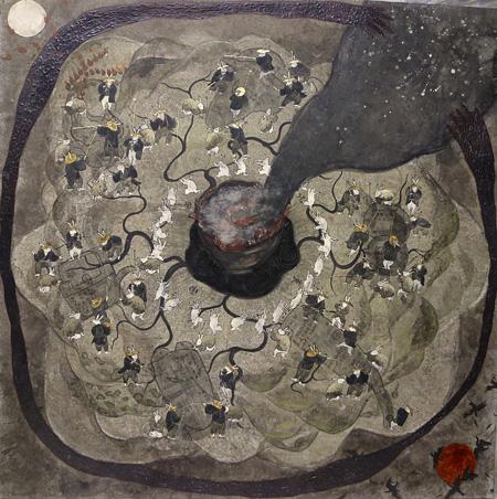『阿仁』2014年 白亜地、水干、岩絵具、墨、箔、モデリングペースト、パネル、綿布 115.5×115.5cm