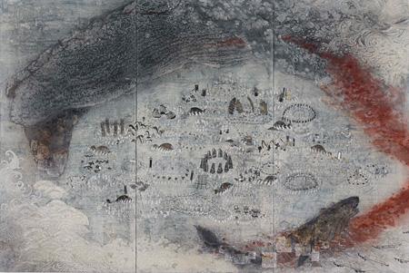 『ものおくり』2013年 白亜地、胡粉、墨、箔、モデリングペースト、岩絵具、パネル、綿布 230×340cm