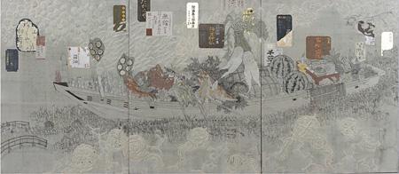 『大宝市』 2012年 白亜地、水干、岩絵具、墨、箔、モデリングペースト、パネル、綿布 130.0×300cm