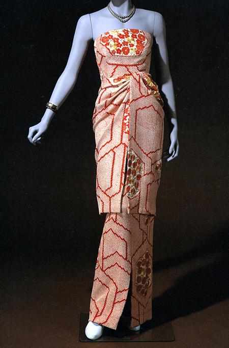 田中千代 疋田絞りイヴニング・ドレス 1962年 専門学校 田中千代ファッションカレッジ蔵