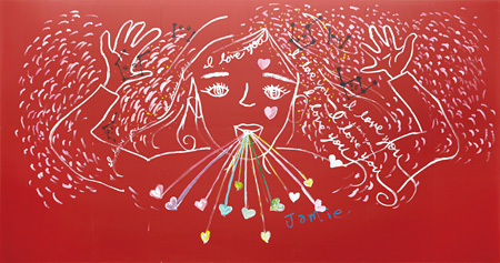 大宮エリー『赤い女の子』2013 acrylic on plywood board h.348 x 663 cm ©Ellie Omiya Courtesy of Tomio Koyama Gallery