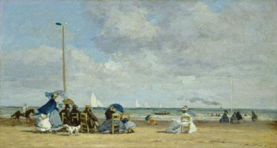 ウジェーヌ・ブーダン 『トゥルーヴィルの浜辺』 1864/1865年 油彩・板 National Gallery of Art, Washington, Ailsa Mellon Bruce Collection