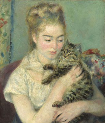 ピエール=オーギュスト・ルノワール 『猫を抱く女性』 1875年頃 油彩・カンヴァス National Gallery of Art, Washington, Gift of Mr. and Mrs. Benjamin E. Levy