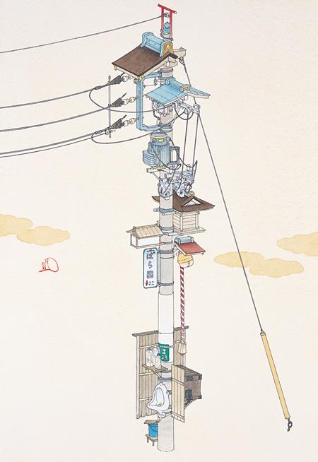 『子の字引留行形柱』2010 紙にペン、水彩 35×24cm 個人蔵 撮影:宮島径  ©YAMAGUCHI Akira, Courtesy Mizuma Art Gallery