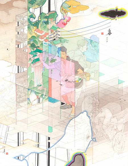 『前に下がる 下を仰ぐ』2014 紙に鉛筆、ペン、水彩、墨 36.6×28.9 cm ©YAMAGUCHI Akira, Courtesy Mizuma Art Gallery