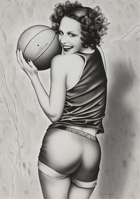 山口はるみ『バスケットボールガール』1975 Acrylic on Board H72.9×W51.5cm ©Harumi Yamaguchi, Courtesy of NANZUKA