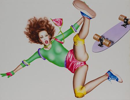 山口はるみ『スケートボーダー』1978 Acrylic on Board H66.7×W85.5cm ©Harumi Yamaguchi, Courtesy of NANZUKA