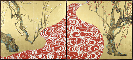 山本太郎『紅白紅白梅図屏風』 ©Taro YAMAMOTO courtesy of imura art gallery