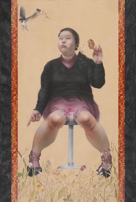 田中武『印相(十六恥漢図シリーズ)』高知麻紙に岩絵具・水彩絵具・珈琲出汁・墨、1940×1300mm、2010年