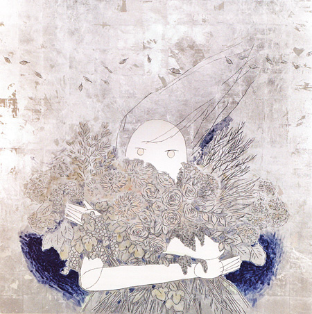 蝦原由紀(加藤由紀)『ヤヌス』鳥の子紙に胡粉・箔・岩絵具・ダーマトグラフ、1620×1620mm、2014年