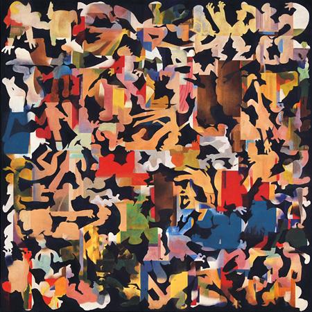 中村ケンゴ『自分以外』パネルに和紙、岩絵具、顔料、アクリル、樹脂膠、1455×1455mm、2014年