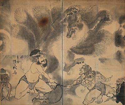 河鍋暁斎『九尾の狐図屏風』明治3(1870)年以前 河鍋暁斎記念美術館蔵