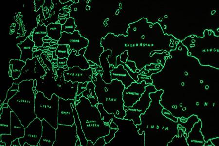 青山悟『Map of the World (Dedicated to Unknown Embroiders)』(部分) 2013 ポリエステルにポリエステル糸と蓄光糸で刺繍/Embroidery (polyester and luminous thread) on polyester 撮影:宮島径 / photo by MIYAJIMA Kei ©AOYAMA Satoru Courtesy Mizuma Ary Gallery