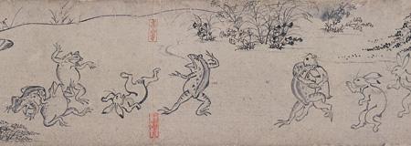 国宝『鳥獣人物戯画 甲巻(部分)』平安時代・12世紀 京都・高山寺 後期展示