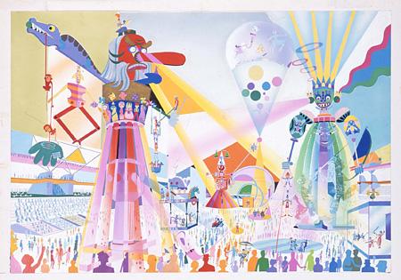 真鍋博『ロボット型移動クレーンのショー、絵でみるお祭り広場』1967年 愛媛県美術館蔵