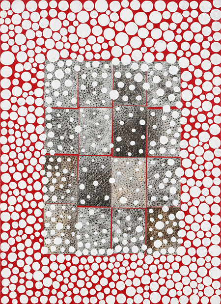 草間彌生 KUSAMA Yayoi『レペティション A, B』1996 フォトコラージュ、ペイント、紙 24.3×33.4cm Photo:KIOKU Keizo ©Yayoi Kusama, Courtesy of KUSAMA Enterprise, Ota Fine Arts