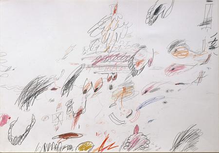 『Untitled(無題)』1961/63年 50×71cm  鉛筆、色鉛筆、ボールペン、紙 ©Cy Twombly Foundation / Courtesy Cy Twombly Foundation