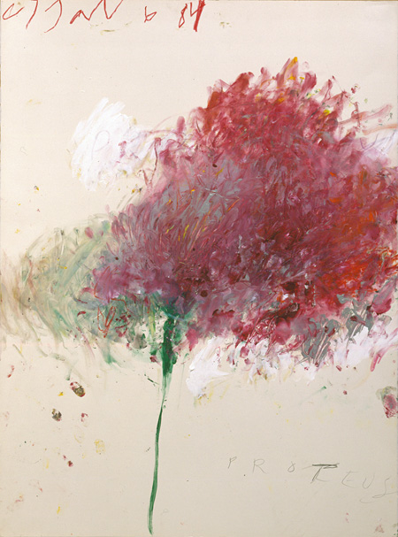 『Proteus(プロテウス)』1984年 76×56.5cm  アクリル絵具、色鉛筆、鉛筆、紙 ©Cy Twombly Foundation / Courtesy Cy Twombly Foundation