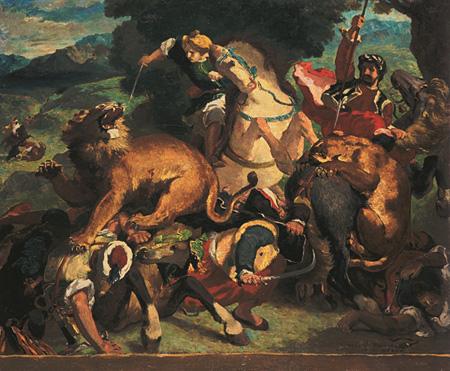 オディロン・ルドン『ライオン狩り』(ドラクロワ作品に基づく模写)1860-70年 オルセー美術館(ボルドー美術館へ寄託) ©Musée des Beaux-Arts - Mairie de Bordeaux. Cliché F. Deval