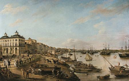ピエール・ラクール(父)『ボルドーの港と河岸の眺め(シャルトロン河岸とバカラン河岸)』 1804-06年 ボルドー美術館 ©Musée des Beaux-Arts - Mairie de Bordeaux. Cliché F. Deval