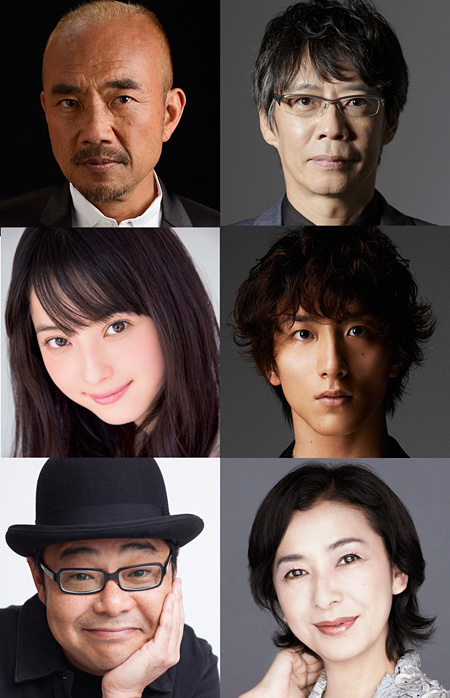 左上から時計回りに竹中直人、生瀬勝久、大貫勇輔、高橋恵子、田口浩正、佐々木希