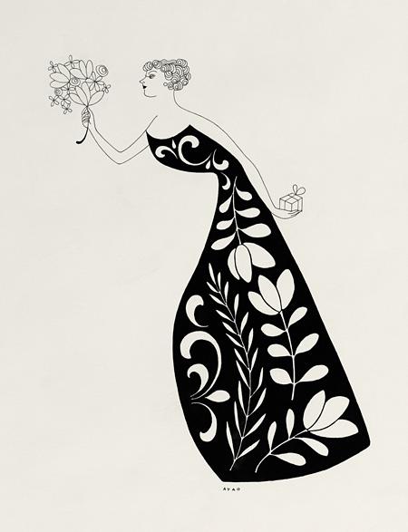 山名文夫『資生堂ドルックス化粧品 新聞広告イラストレーション 原画』1959年 資生堂企業資料館所蔵(後期)