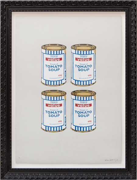 BANKSY『Soup Can-Gold on Grey』2006年 3/12 版上サイン Silkscreen on Paper 81.3cm x 81.3cm ※版上直筆サイン入り、ペストコントロール発行のCOA(Certificates of Authentication)付き