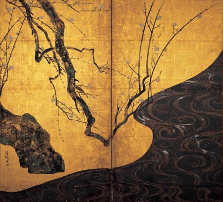 国宝『紅白梅図屏風(左隻)』尾形光琳筆 2曲1双 江戸時代 18世紀 MOA美術館蔵