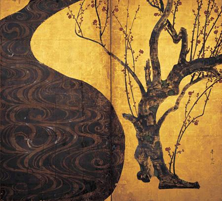 国宝『紅白梅図屏風(右隻)』尾形光琳筆 2曲1双 江戸時代 18世紀 MOA美術館蔵