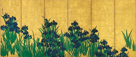 国宝『燕子花図屏風(左隻)』尾形光琳筆 6曲1双 江戸時代 18世紀 根津美術館蔵
