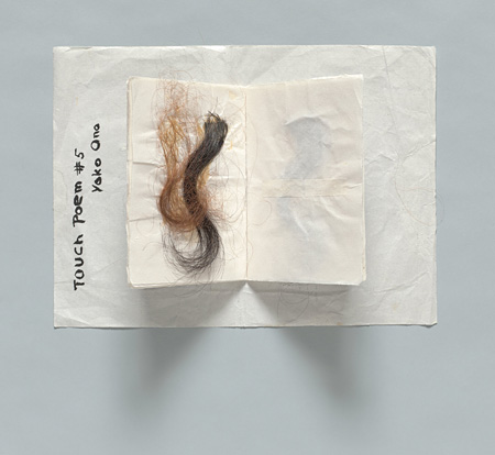Yoko Ono, Touch Poem #5. c. 1960. Hair, ink on paper, 9 7/8 × 13 7/16″ (25 x 34.1 cm). Private collection. ©Yoko Ono 2014