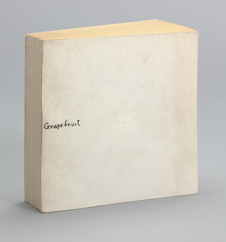 Yoko Ono, Grapefruit. 1964. Artist's book, offset, 5 7/16 x 5 7/16 x 1 1/4″ (13.8 x 13.8 x 3.2 cm) (overall, closed). Publisher: Wunternaum Press (the artist), Tokyo. Edition: 500. The Museum of Modern Art, New York. The Gilbert and Lila Silverman Fluxus Collection Gift, 2008. ©Yoko Ono 2014