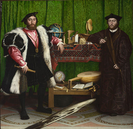 Hans Holbein the Younger, Jean de Dinteville and Georges de Selve ('The Ambassadors'),1533 ©The National Gallery, London