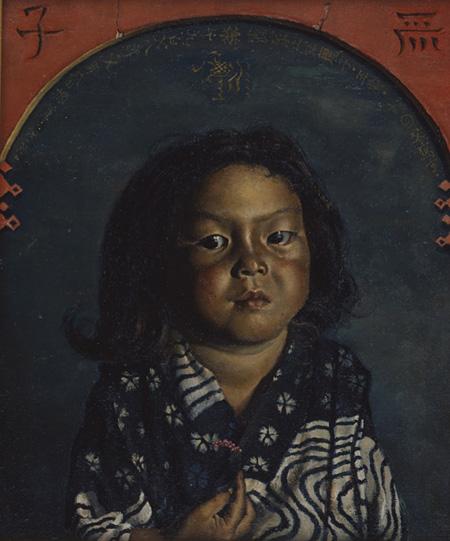 岸田劉生『麗子肖像(麗子五歳之像)』1918年、油彩・キャンバス、45.3×38.0cm、東京国立近代美術館