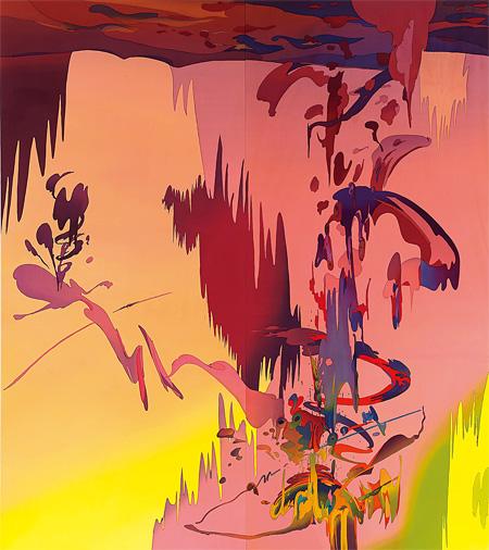 安藤隆一郎『水平線が沈んだあと』綿布・反応性染料 160×180cm 2014 Courtesy of  MORI YU GALLERY